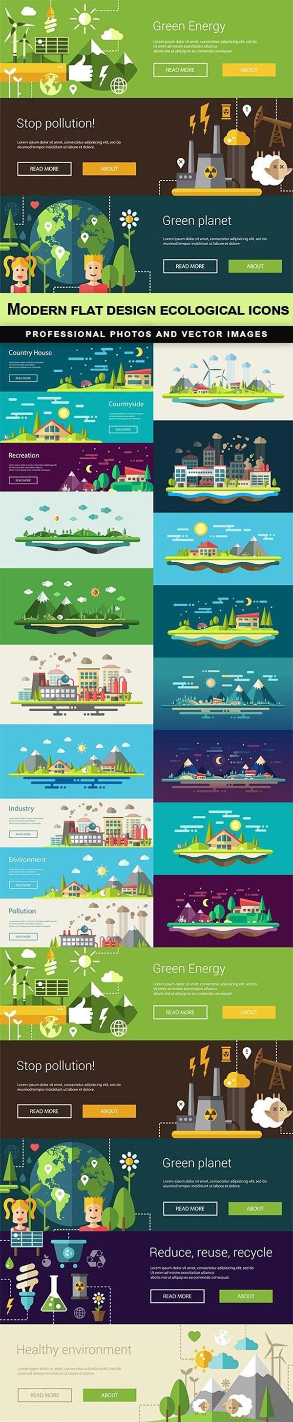 Flat eco-illustrations vector