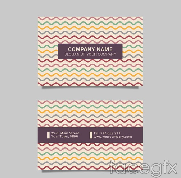 Wavy lines business cards vector