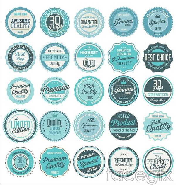Blue promotional labels vector
