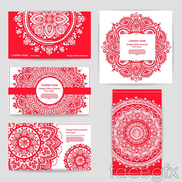 India pattern cards vector