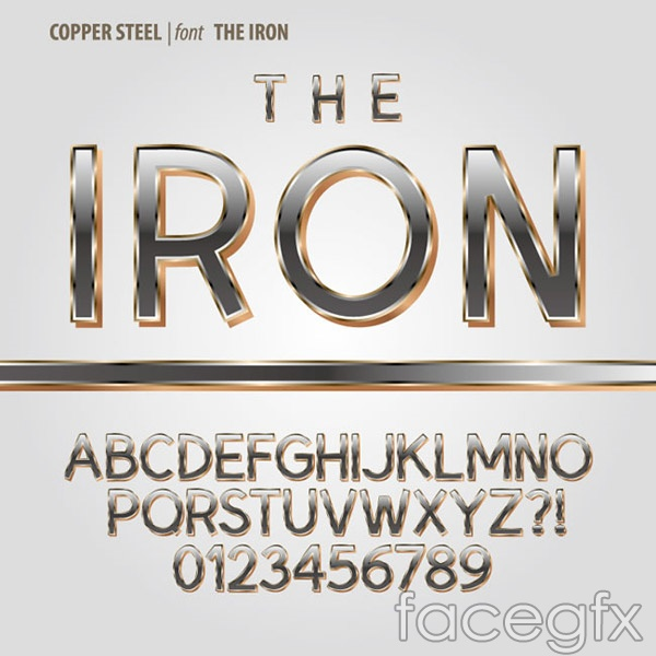 Metal font vector