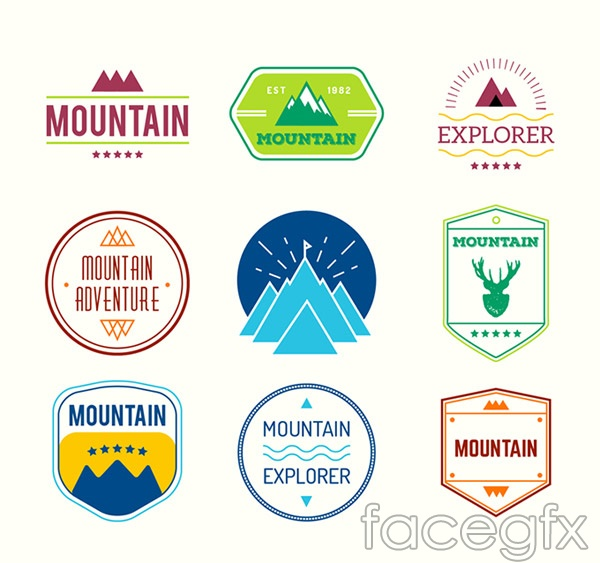 Mountaineering tag vector