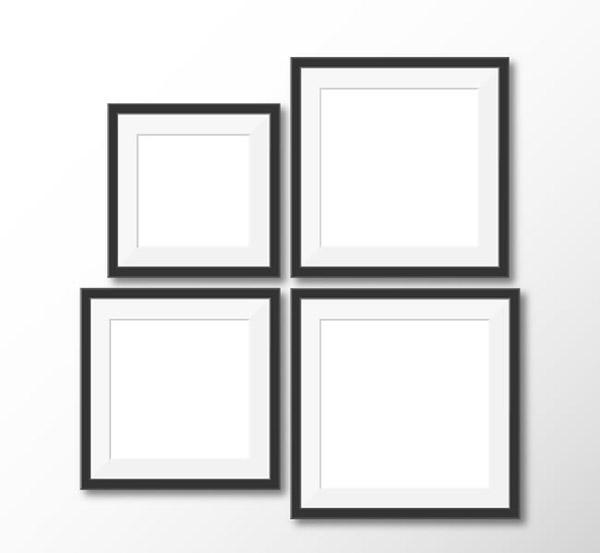 Square picture frame design vector