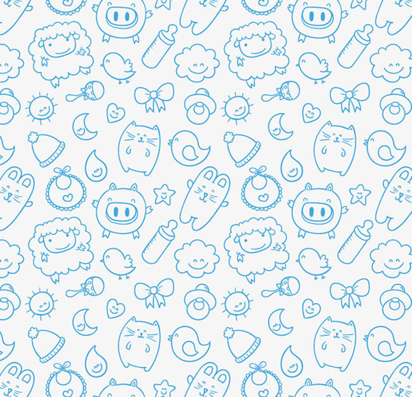 Small animal seamless background vector