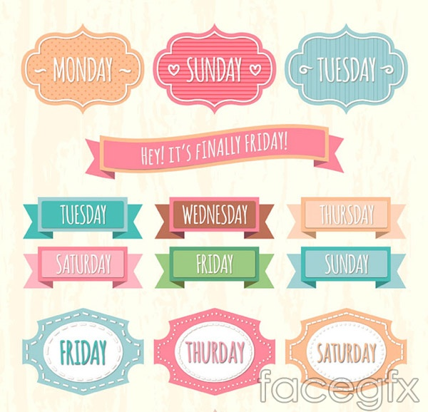 A week date labels vector