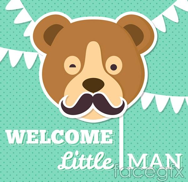 Brown bear avatar baby cards vector