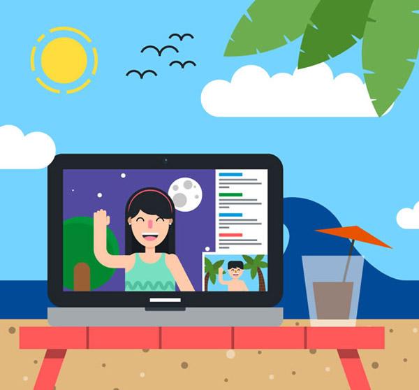 Computer video call illustration vector