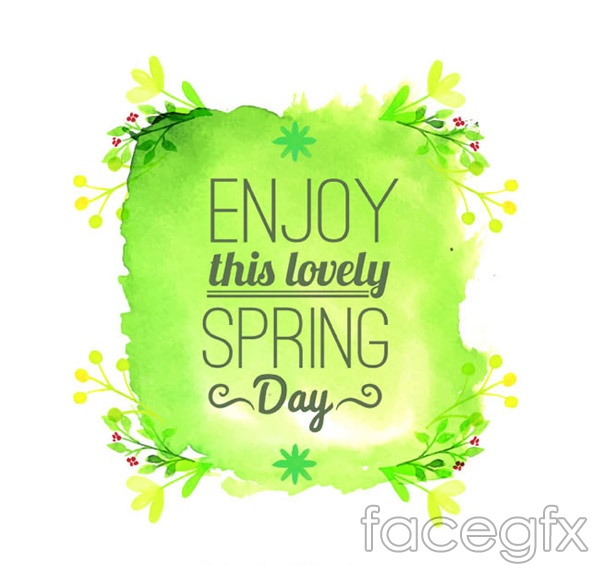 Spring Green watercolor poster vector