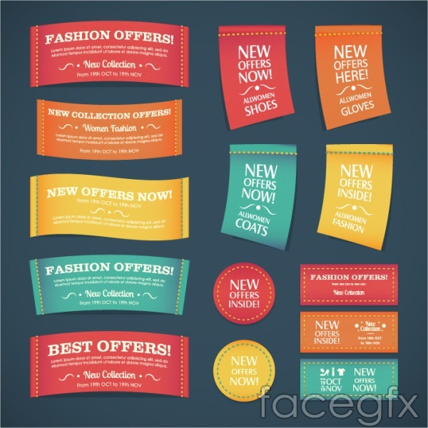 Textile style promotional labels vector