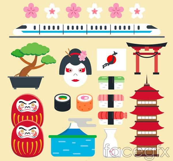 Cartoon Japan element vector