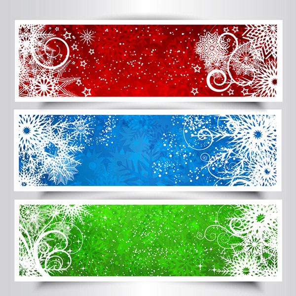 Colorful snowflake banner vector