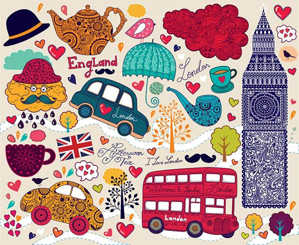 London graphic design vector