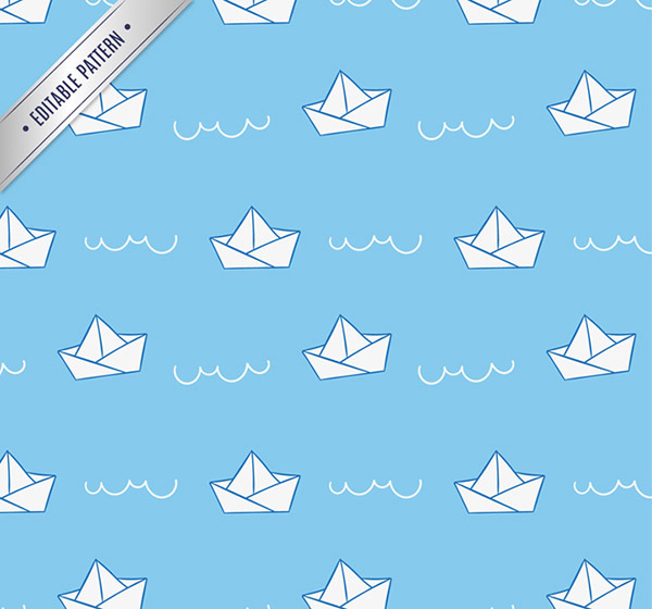 Paper boat folding seamless background vector