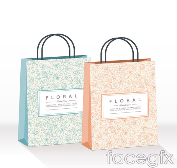 Patterned shopping bag vector