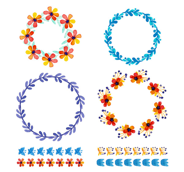 Watercolor lace and garlands vector
