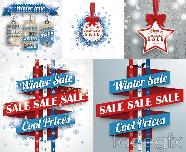 Winter price tag vector