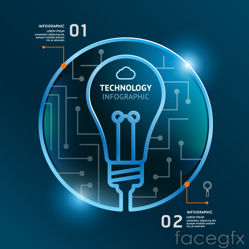 Blue light bulb technology infographic vector
