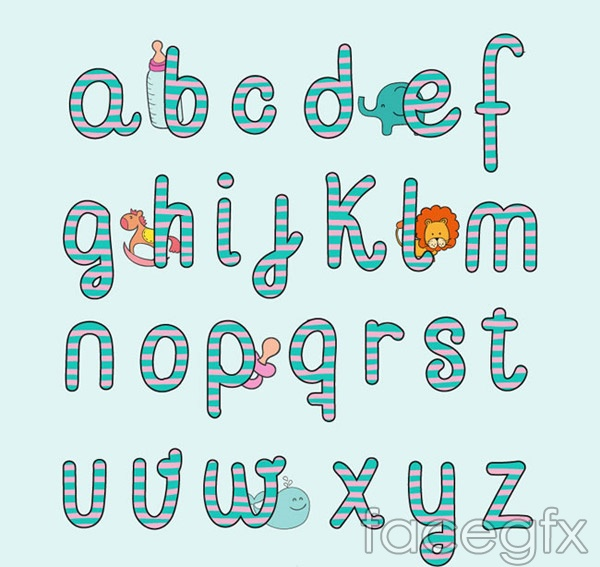 Baby style letters vector