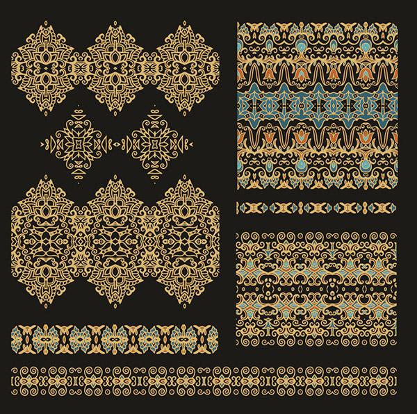 Gold vintage patterns vector