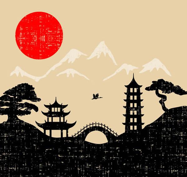 Japanese style illustration vector