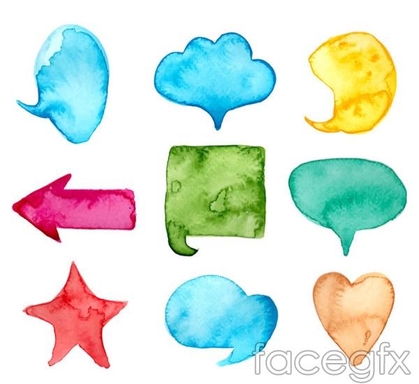 Watercolor language bubble vector