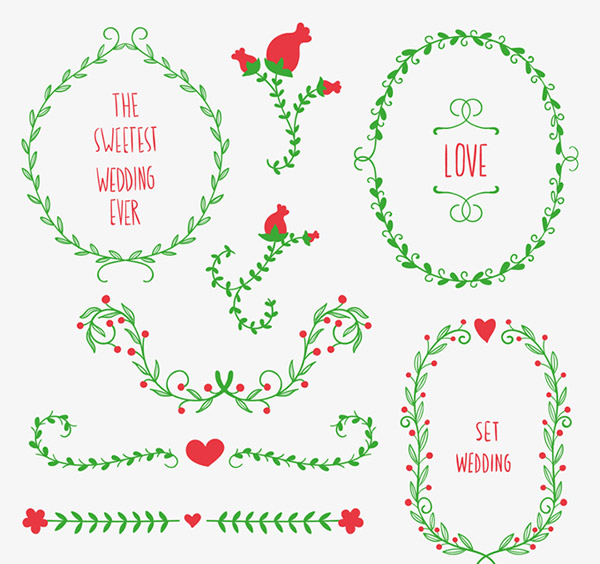 Wedding lace and garlands vector