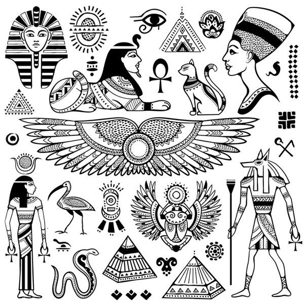 Ancient Egypt written symbols vector