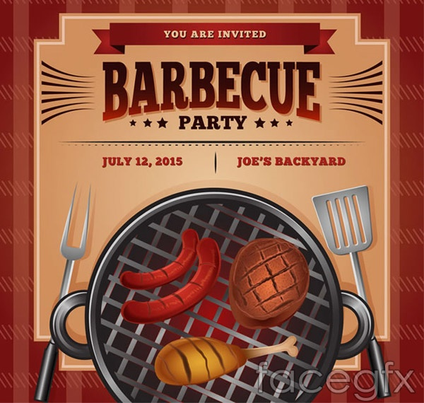 BBQ invitation poster vector
