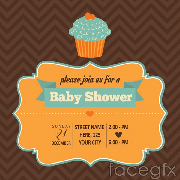 Cake baby party poster vector