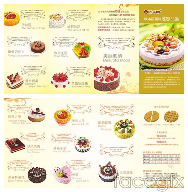 Cake shop promotional folding vector