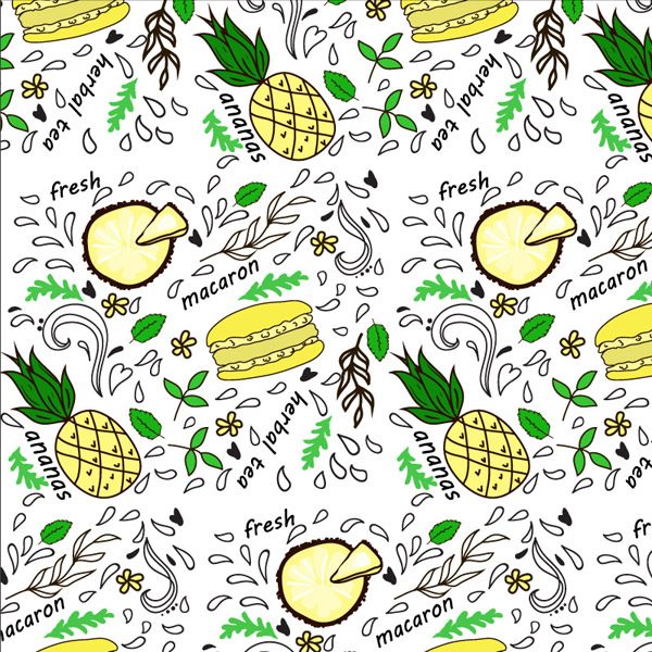 Hamburgers and fruit background vector