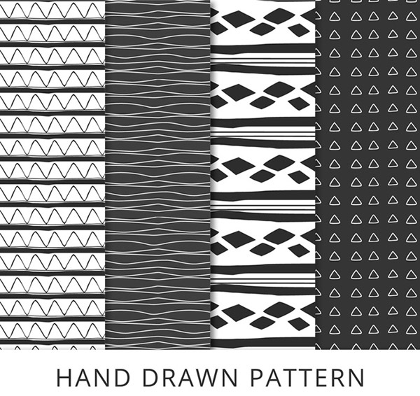 Hand-painted design seamless backgrounds vector