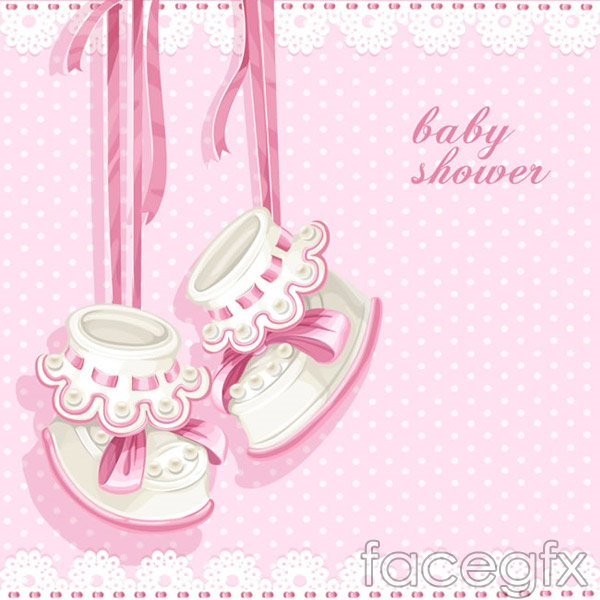 Infant Pink Party cards vector