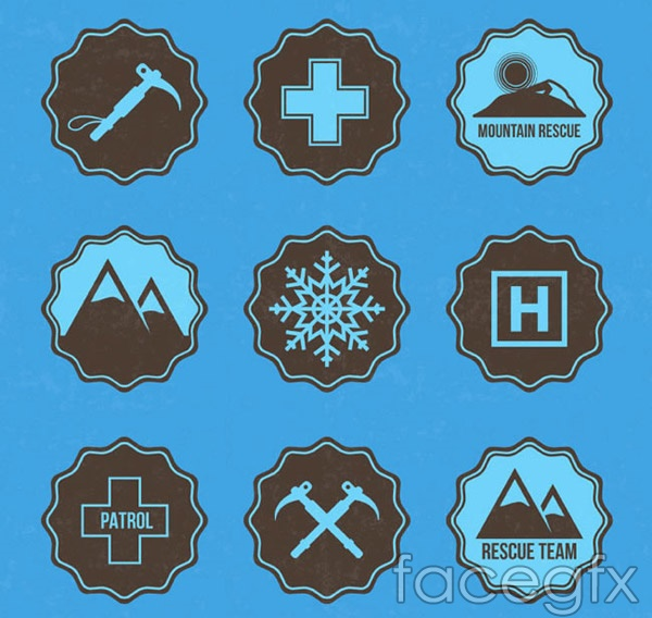 Mountain rescue element tag vector
