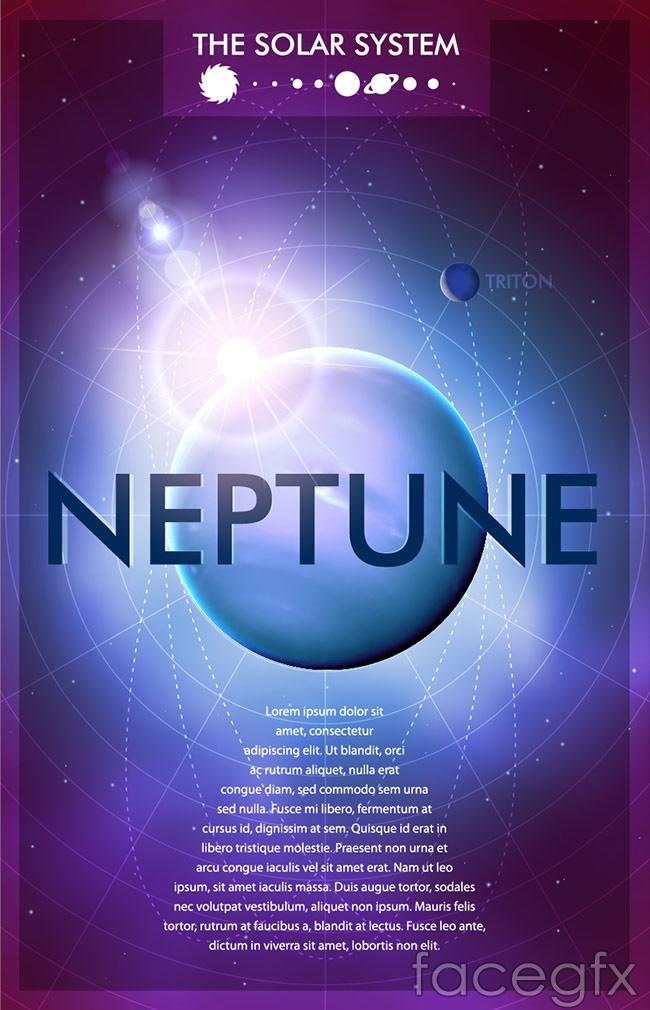Neptune's panoramic poster vector