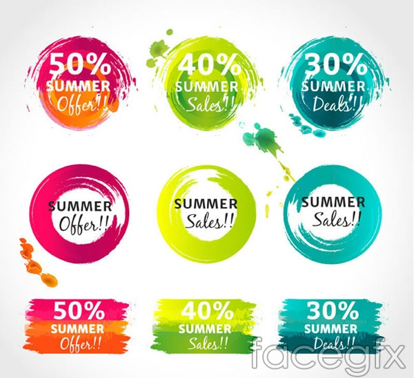 Watercolor summer discount labels vector