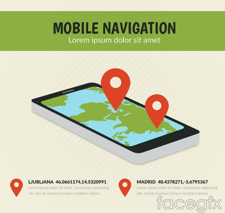 Creative mobile phone navigation vector illustration