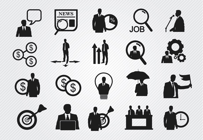 20 black business icon vector