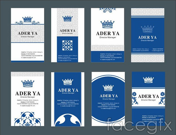 Blue business card vector