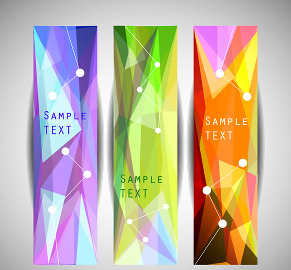 Colorful geometric-shaped banne vector