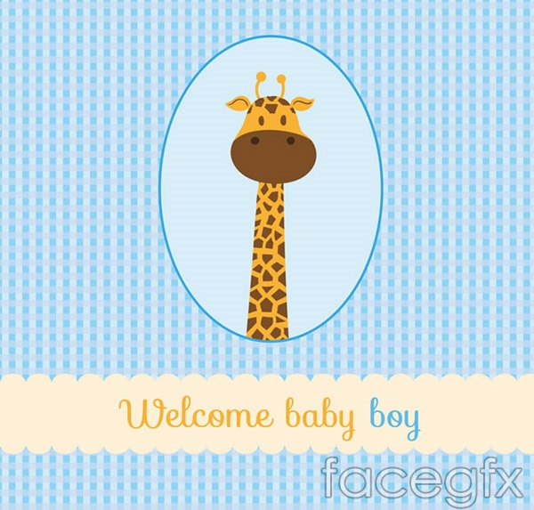 Giraffe baby cards vector