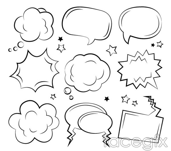 Hand-painted bubble language vector
