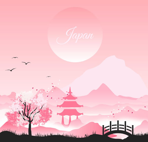 Japanese-style landscape Illustrator vector