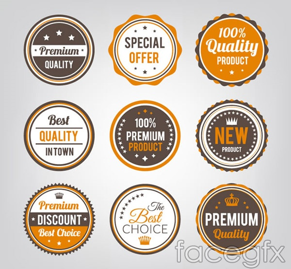 Orange color promotional labels vector