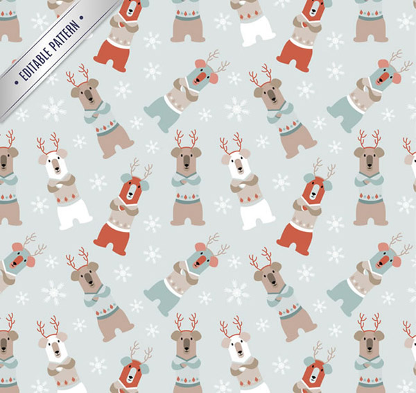 Cartoon reindeer seamless background vector