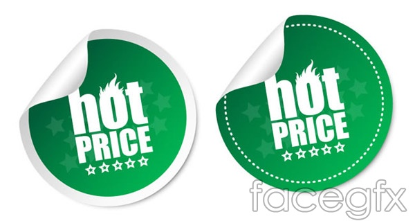 Circular promotional stickers vector