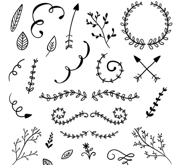Hand-painted lace and branches vector