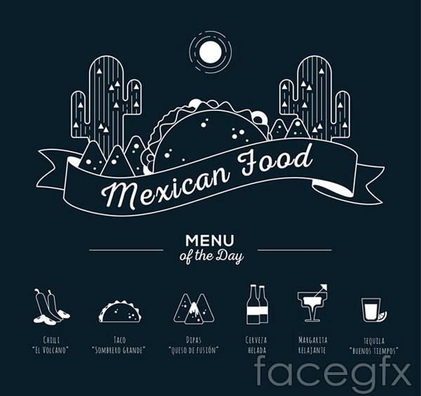 Mexico food menu vector