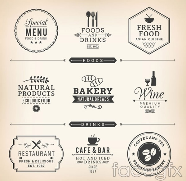 Restaurant food labeling vector