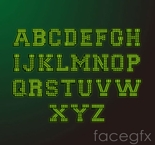 Design of neon letters vector